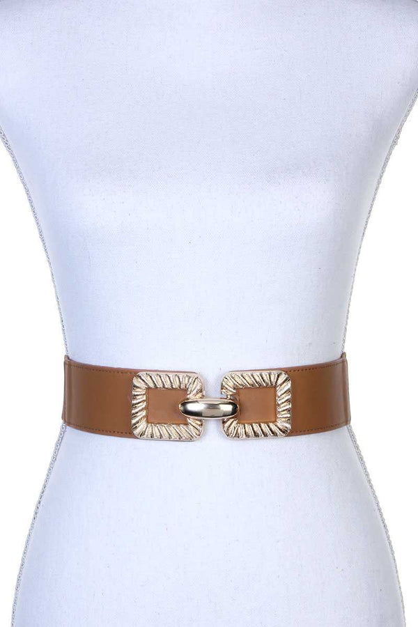 Square Metal Buckle Stretch Belt - Bomberish