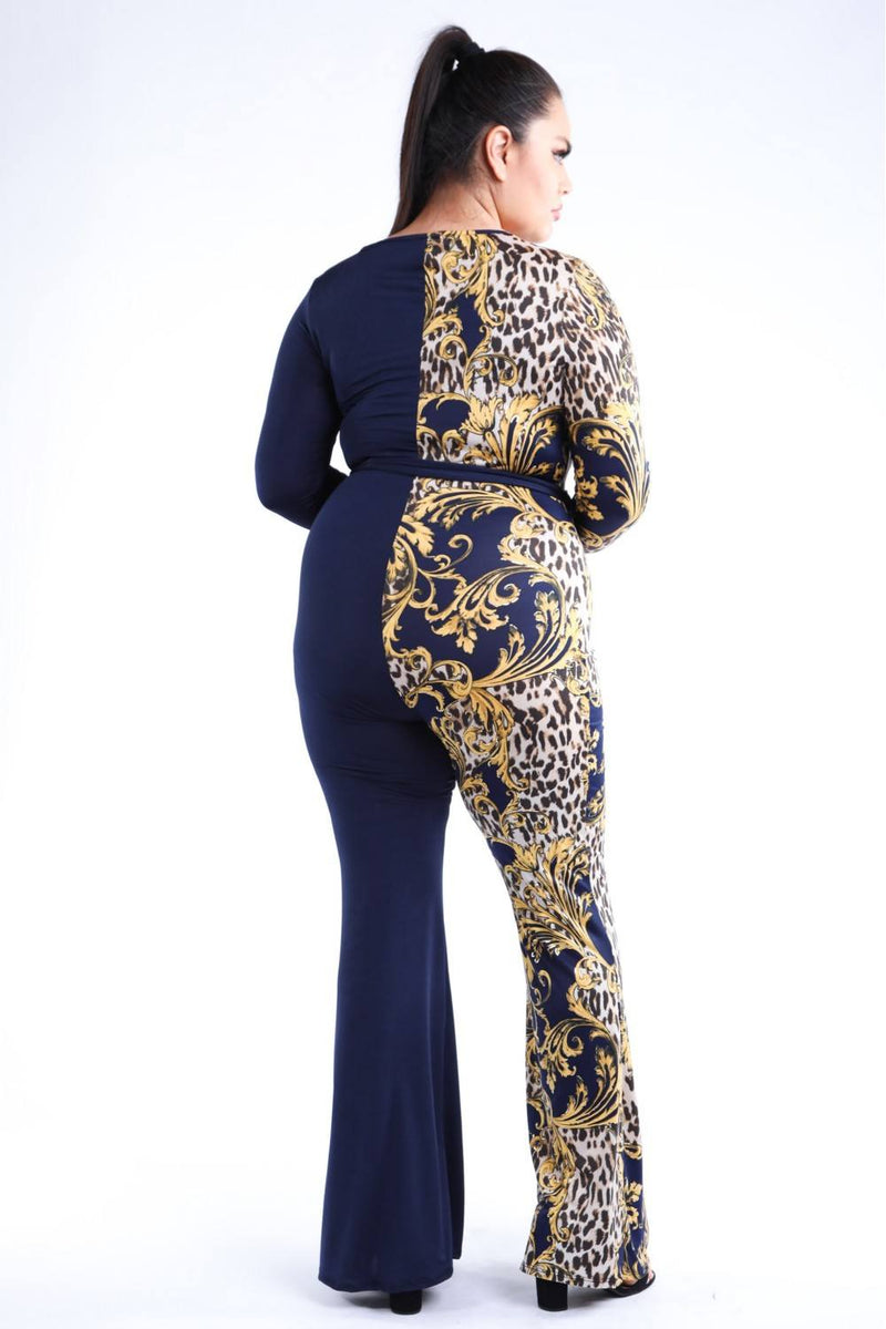 Leopard Paisley Printed Color Blocked Jumpsuit - Bomberish