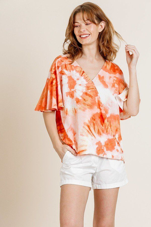 Printed Ruffle Bell Sleeve V-neck Cross Body Top - Bomberish