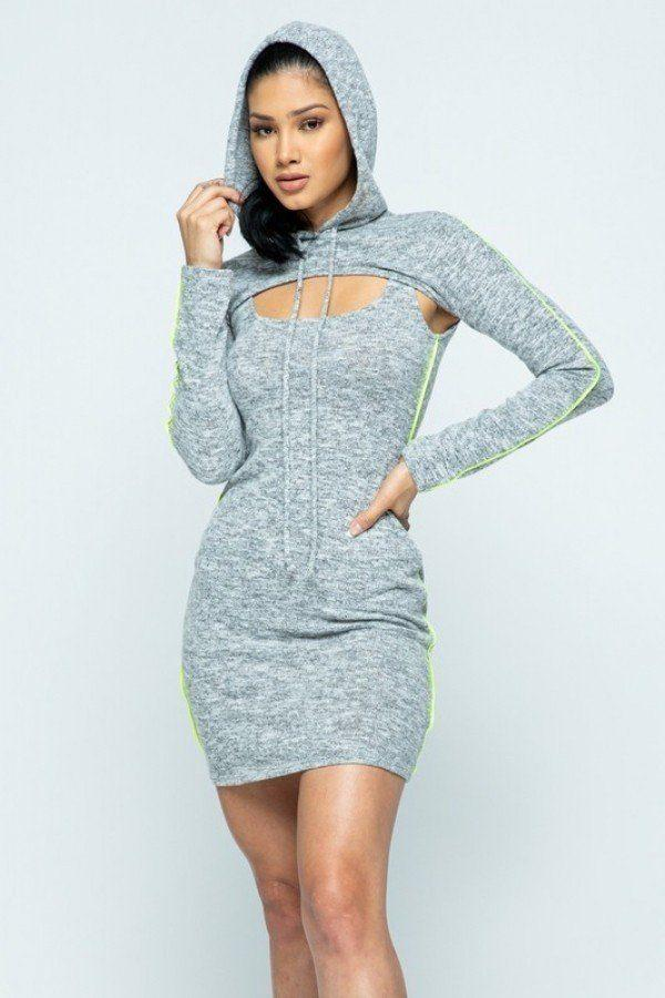 Brushed Hacci Side Piping Detail Hoodie And Tank Top Dress Set - Bomberish