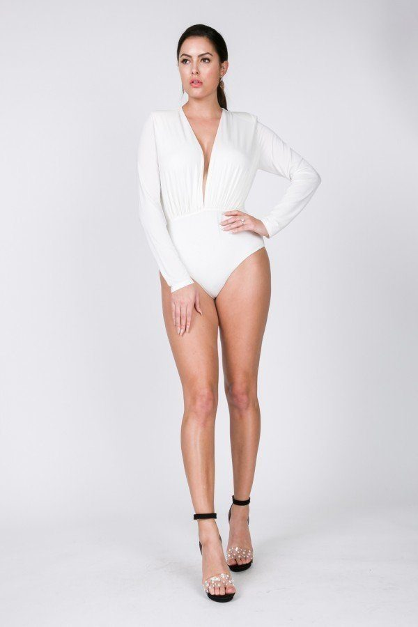 Power Shoulder Deep V Long Sleeve Bodysuit - Bomberish