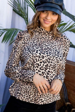 Mock Neck Long Bubble Sleeve Back Button Leopard Print Knit Top - Bomberish