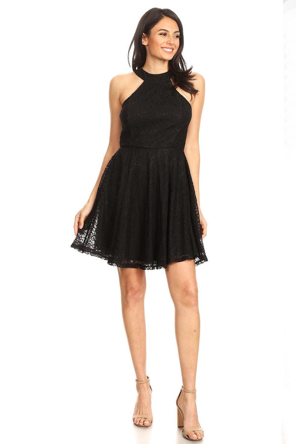 Lace Sleeveless Dress With Halter Neckline And Back Zipper Closure - Bomberish