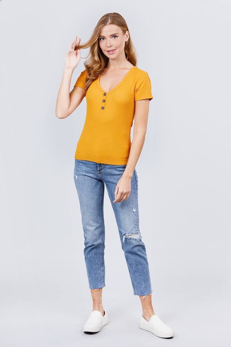 V-neck W/button Detail Rib Knit Top - Bomberish