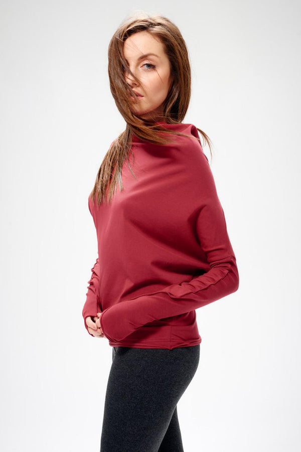 Long Sleeved Casual Red Blouse - Bomberish