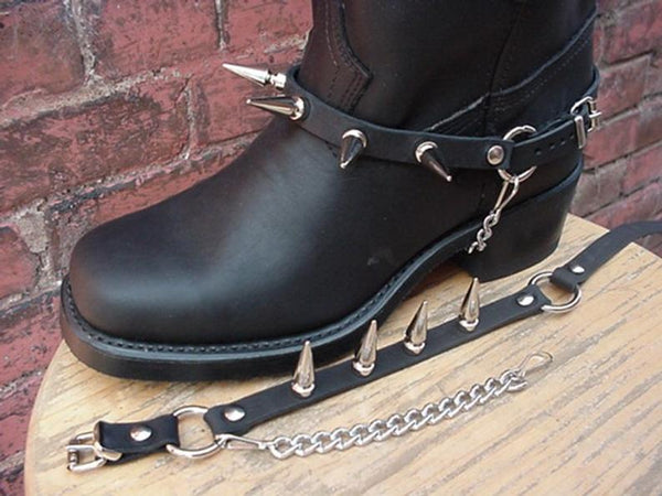 CHAINS BLACK Leather Boots - Bomberish