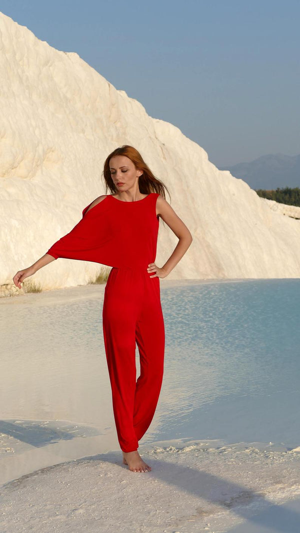 Asymmetrical Red Backless Jumpsuit - Bomberish