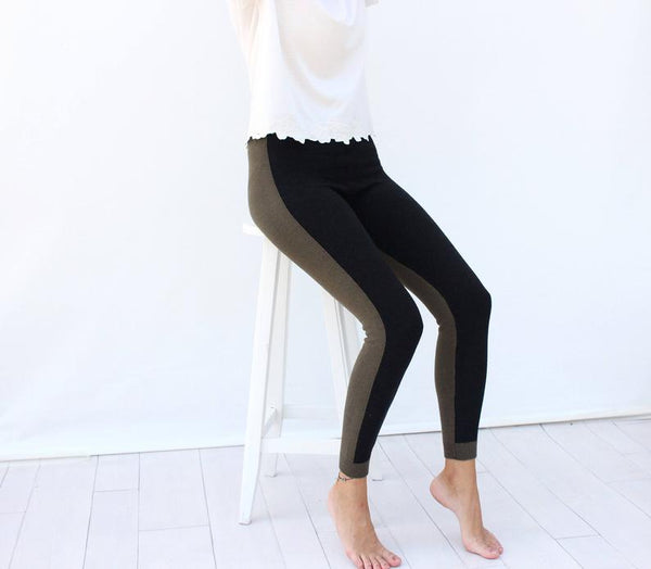 Khaki and Black Two Colours Knitted Leggings - Bomberish