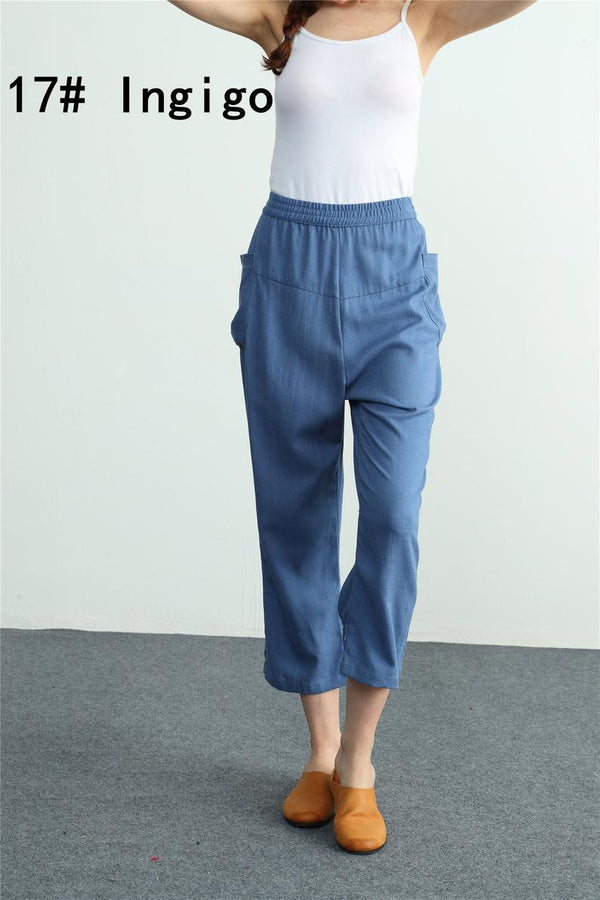 Women's loose Cotton linen Pants high waisted - Bomberish