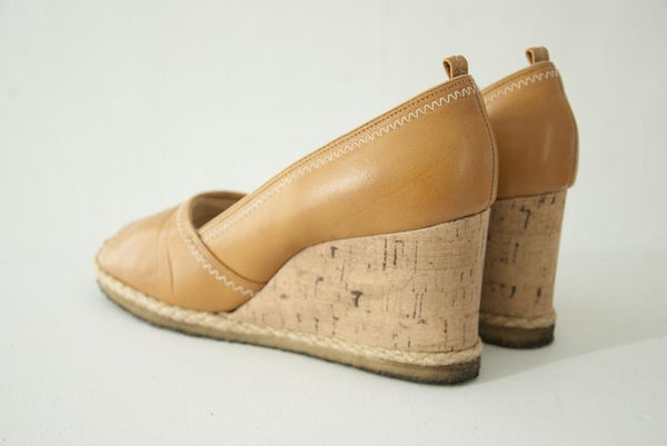 Vintage gold leather wedges - Bomberish