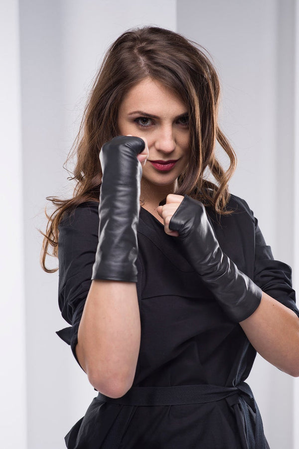 Leather Fingerless Black Gloves - Bomberish