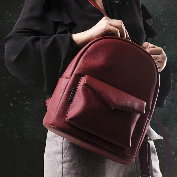 City walks and trips Eco-leather  Burgundy mini backpack - Bomberish