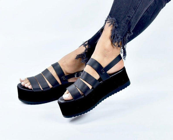 Women's sandals, Black wedges - Bomberish