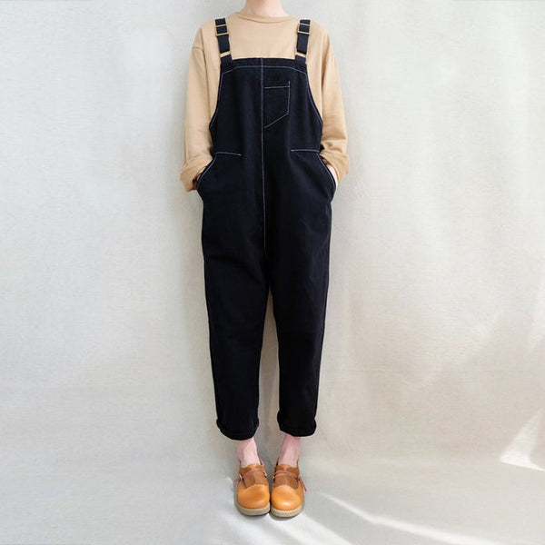 Cropped Leg Romper Washed Jumpsuit - Bomberish
