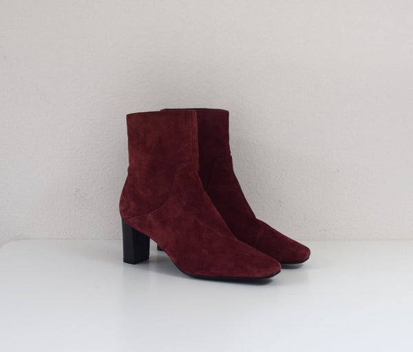 1990's Burgundy Heeled Boots - Bomberish