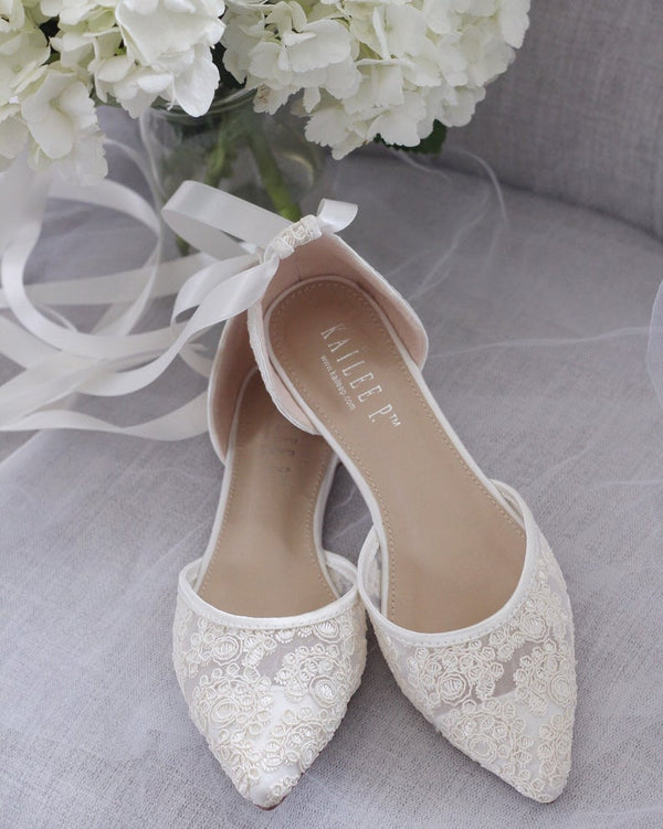 IVORY CROCHET LACE Pointy toe flats with Ballerina lace up - Bomberish