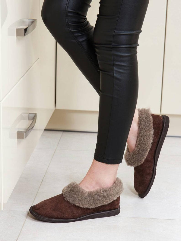 Brown Sheepskin slippers for women - Bomberish