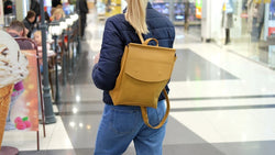 Women's Leather Yellow Backpack - Bomberish