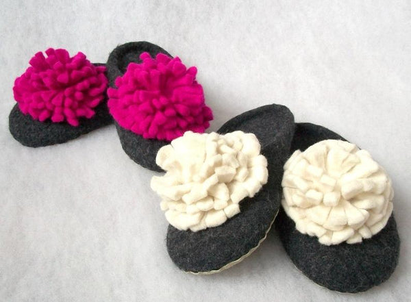 Felted slippers - backless wool slippers - Bomberish