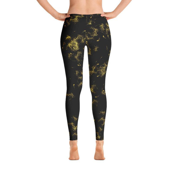 Women's Black and Gold Leggings, - Bomberish