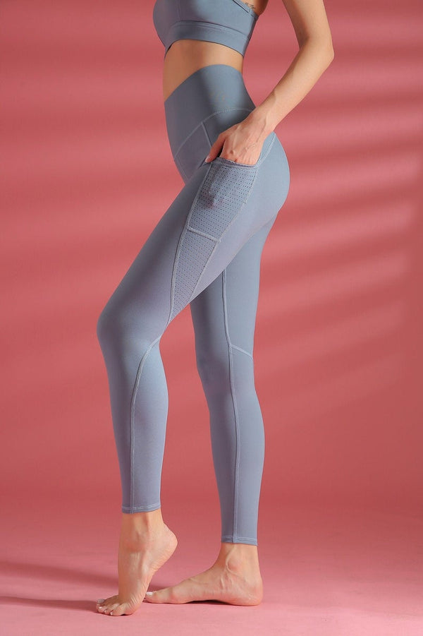 silky side pocket spandex workout leggings - Bomberish