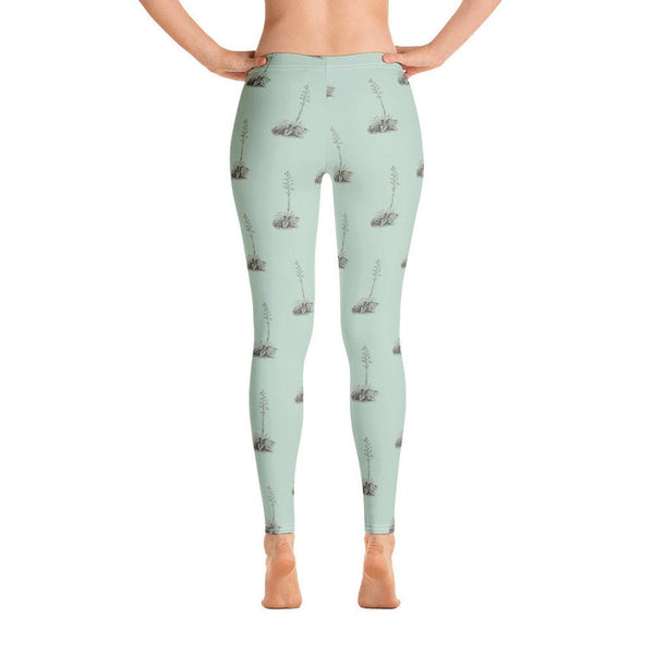 Women's Yoga Leggings With Vintage Botanic Illustration - Bomberish