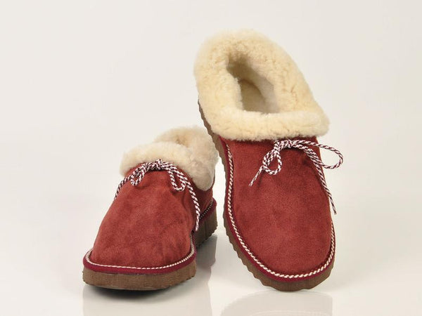 Bordeaux fur slippers. Sheepskin slippers - Bomberish