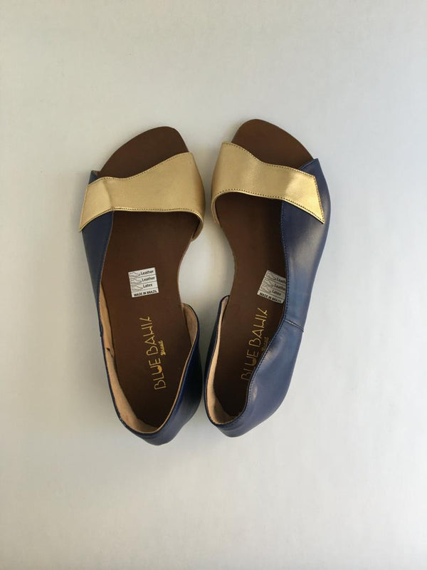 Brazilian Leather Flats for Women in Navy Blue and Gold - Bomberish