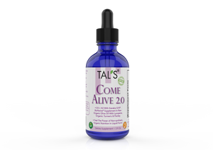 TAL'S Come Alive 2.0 is non-synthetic organic nutrition in liquid form. It has the highest grade of: D3, K2, Kaneka Q10, BioPerine, with Lycopene, 95% Curcuminoids, Turmeric and Parsley. Gluten Free, Dairy Free, Peanut free, Sugar free. Non GMO