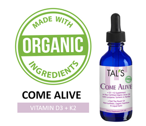 Come Alive, D3 + K2 Supplement In Raw Organic Olive Oil, With Lycopene, Turmeric & Parsley, 2 OZ