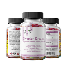 TAL'S Sweeter Dreams. non habit forming, Hemp derived THC FREE CBD and Melatonin product, for a deeper and more restful night's sleep. Gluten Free Dairy Free.
