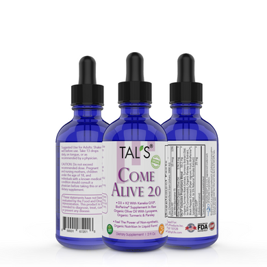 TAL'S Come Alive 2.0 non-synthetic organic nutrition in liquid form. The highest grade of: D3, K2, Kaneka Q10, BioPerine, with Lycopene, 95% Curcuminoids, Turmeric and Parsley.