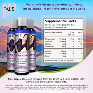 TAL'S Magnesium Supplement: Feel Alive is an all-natural, pH-balancing Trace Mineral Drops