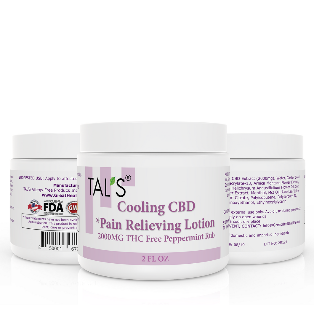 TAL'S Cooling Peppermint CBD Pain Relieving Lotion 2000MG, 100% THC Free, 2oz