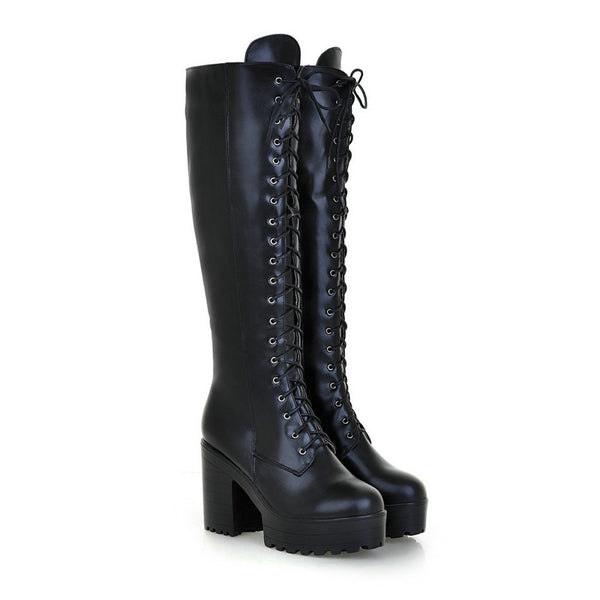 Women's Lace-Up Knee-High Boots