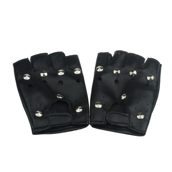 Men's Studded Fingerless Leather Gloves (1 Pair)