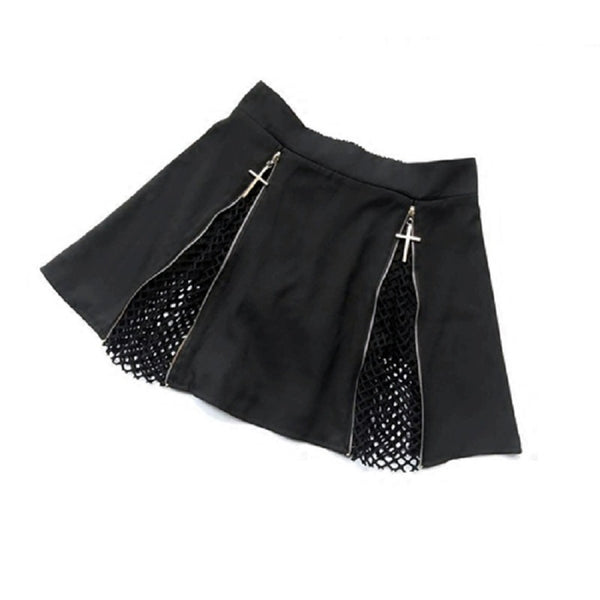 Women's Cross Zipper Mesh Mini Skirt