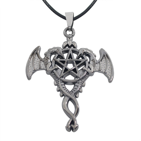 Vintage Double Dragon Pentagram Necklace