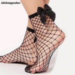 Women's Fishnet Socks w/Bow Attachment