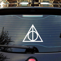 Harry Potter Deathly Hallows Vinyl Car Window Decal - White