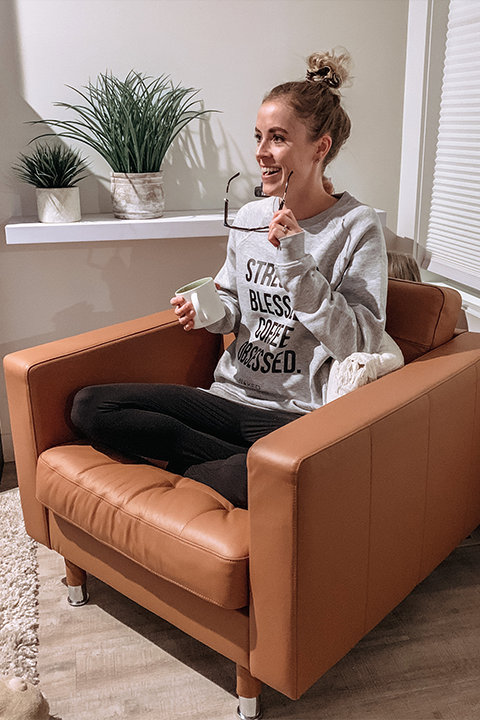 Stressed. Blessed.  Coffee Obsessed. // Heather Grey  Crewneck