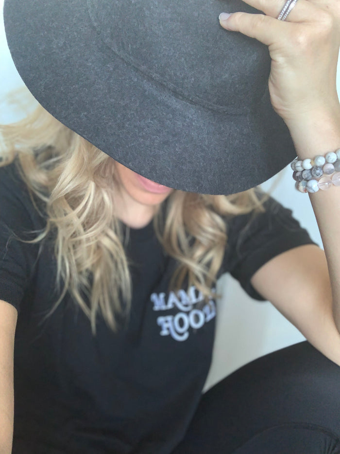 Embroidered Mamahood // Black tee