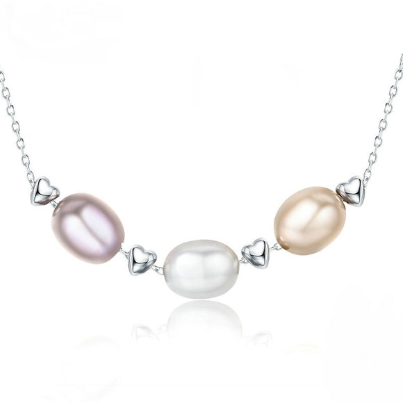 Simple and Elegant Necklace made with Sterling Silver & Natural Freshwater Pearls