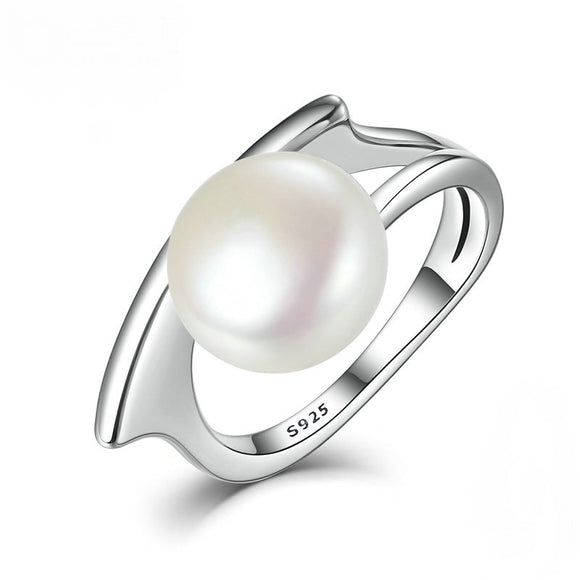 Elegant and Authentic 925 Silver with Shell Pearl Ring