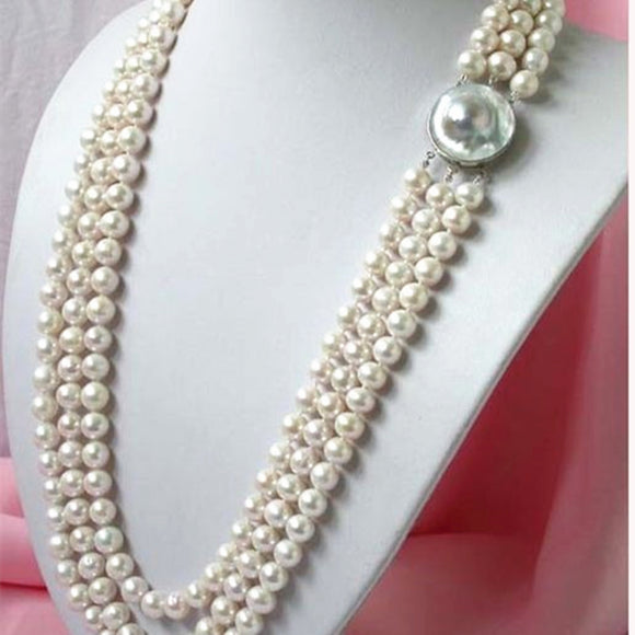 Classic Natural White Freshwater Cultured Pearls Necklace