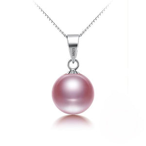 Flawless Simulated Pink Pearl Necklace with Sterling Silver Chain