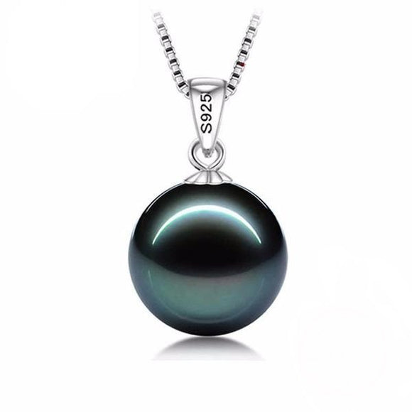 Flawless Black Simulated Pearl with 925 Silver Necklace