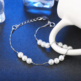 Classic Sterling Silver Pearls Bracelet