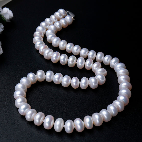 Gorgeous High Class Natural Freshwater Pearls Necklace with Pure S925 Silver