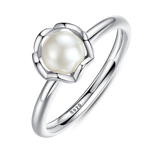 Original 925 Sterling Silver Pearl Ring with White Freshwater Cultured Pearl - Pearly Jewel